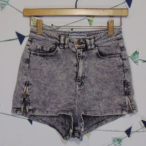 American Apparel High Waist Acid Wash Denim Shorts